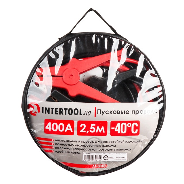 Пусковые провода 400А, 2.5м, до -40°C, чехол INTERTOOL AT-3043 - 1