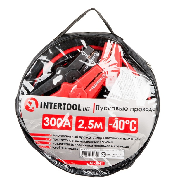 Пусковые провода 300А, 2.5м, до -40°C, чехол INTERTOOL AT-3041 - 1